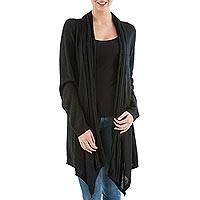 Cardigan sweater, 'Black Waterfall Dream' - Long Sleeved Black Cardigan Sweater from Peru