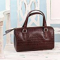 Leather baguette handbag, 'Classic Bordeaux' - Handcrafted Leather Baguette in Bordeaux from India