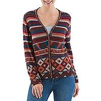 100% alpaca cardigan, 'Chimu Soiree' - Chimu Glyphs on 100% Alpaca Multicolor V-neck Cardigan