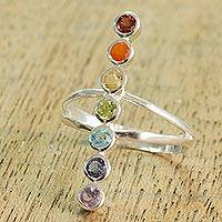 Multi-gemstone cocktail ring, 'Peaceful Harmony' - Artisan Crafted Multi-Gemstone Cocktail Ring from India