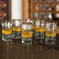 Blown glass shot glasses, 'Ribbon of Sunshine' (set of 6) - Handblown Glass Striped Tequila Shot Drinkware (Set of 6)