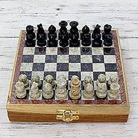Soapstone chess set, 'Royal Contest' - Soapstone Chess Set Chess Hand Crafted Wood