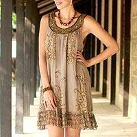 Embellished dress, 'Golden Paisley' - Beaded A-Line Golden Dress with Sequins and Ruffles