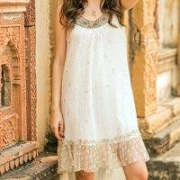 Beaded A-line dress, 'Golden' - White Beaded A-Line Dress with Sequins and Ruffles