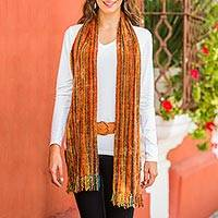 Rayon chenille scarf, 'Heart of the Land' - 100% Rayon from Bamboo Chenille Scarf