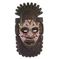 Nigerian wood mask, 'Festival' - Nigerian Hand Beaded Wood Mask