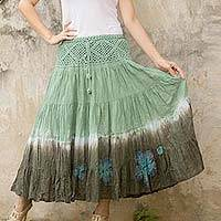 Cotton batik skirt, 'Green Boho Chic' - Long Cotton Batik and Crochet Skirt from Thailand