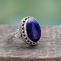 Lapis lazuli cocktail ring, 'Majestic Blue' - Handcrafted Sterling Silver and Lapis Lazuli Cocktail Ring