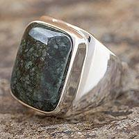 Men's jade ring, 'Fortitude' - Men's Jade and Sterling Silver Signet Ring