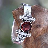 Garnet solitaire ring, 'Mystical Eye' (size 8.5) - Modern Sterling Silver Garnet Ring