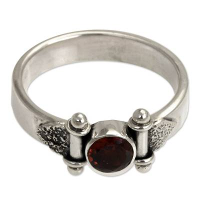 Modern Sterling Silver and Garnet Ring (8.5)