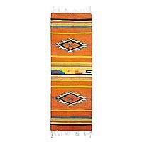 Zapotec wool rug, 'Golden Sun' (1.5x4) - Zapotec Wool Runner 1.5x4 Ft Red Handmade in Mexico