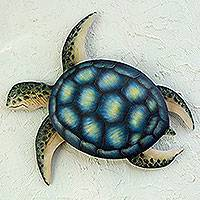 Steel wall art, 'Sea Turtle' - Handmade Green Turtle Wall Sculpture