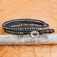 Labradorite and hematite wrap bracelet,