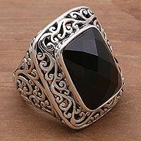 Onyx cocktail ring, 'Spiraling Black' - Onyx and Sterling Silver Cocktail Ring by Balinese Artisans