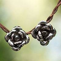 Silver flower earrings, 'Moonlit Roses' - Silver flower earrings