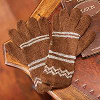 Alpaca blend gloves, 'Earthen Clouds' - Alpaca blend gloves