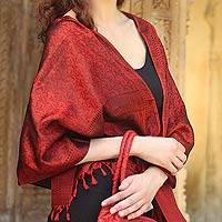 Banarasi silk shawl, 'Ruby Sunset' - Banarasi silk shawl
