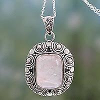 Rose quartz pendant necklace, 'Ancient Rose' - Fair Trade Rose Quartz Necklace in 925 Sterling Silver
