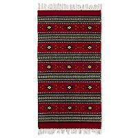 Zapotec wool rug, 'Red Oaxaca Sky' (2.5x5) - 2.5 by 5 Foot Handwoven Red Zapotec Rug with Natural Dyes