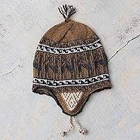 Alpaca blend chullo hat, 'Llama Shadow' - Grey and Brown Alpaca Blend Chullo Hat