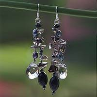 Cultured pearl waterfall earrings, 'Nocturnal Symphony' (Thailand)
