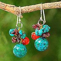Garnet and carnelian beaded dangle earrings,