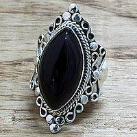 Onyx cocktail ring, 'Lover's Midnight Gaze' - Hand Made Sterling Silver Onyx Cocktail Ring from India