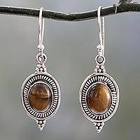 Tiger's eye dangle earrings, 'Natural Delight' - Handcrafted Earrings with Tiger's Eye and Sterling Silver