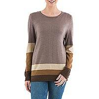 Pullover sweater, 'Imagine in Brown' - Brown Striped Pullover Sweater from Peru