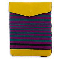 Cotton with leather accent iPad case, 'Tropical' - Hand-woven Cotton with Leather Accent Ipad Case