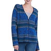 100% alpaca cardigan, 'Peruvian Passion in Blue' - 100% Alpaca Cardigan in Prussian Blue Floral from Peru