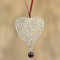 Sterling silver and silk filigree necklace, 'Impassioned Heart' - Filigree Sterling Silver Heart and Agate Necklace on Silk