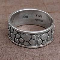 Sterling silver band ring, 'Puppy Paws' - Sterling Silver Paw Print Motif Band Ring from Bali
