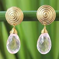 Gold vermeil rose quartz dangle earrings, 'Hypnotic Moon' - Gold Vermeil Rose Quartz Dangle Earrings