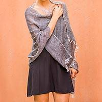 100% baby alpaca shawl, 'Nighttime Adventure' - 100% Baby Alpaca Shawl in Black and Ivory from Peru