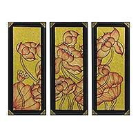 'Lotus Pond III' (triptych) - Thai Acrylic Triptych Lotus Painting with Gold Foil