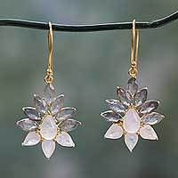 Gold vermeil labradorite and rainbow moonstone dangle earrings,