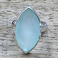 Chalcedony cocktail ring, 'Misty Sea' - 10.5 Carat Aqua Chalcedony and Sterling Silver Cocktail Ring