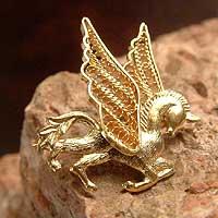 Gold plated filigree brooch pin, 'Pegasus' (Peru)