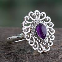 Amethyst cocktail ring, 'Bangalore Lilac' - India Handcrafted Sterling Jali Ring with Amethyst