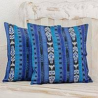 Cotton cushion covers, 'Blue Jaspe Tradition' (pair) - 2 Guatemalan Hand Woven Cotton Cushion Covers Set in Lapis