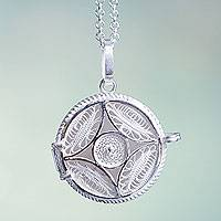 Sterling silver filigree locket necklace, 'To Cherish' (Peru)