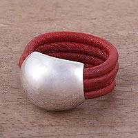 Leather ring, 'Crimson' - Peruvian Leather Sterling Silver Domed Ring