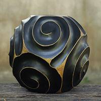 Mango wood vase, 'Night Spiral' - Round Black Lacquered Mango Wood Vase from Thailand