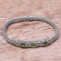 Gold accent peridot braided bracelet,