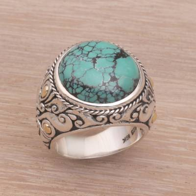 Men's sterling silver ring, 'Taru Tree' - Men's Reconstituted Turquoise and Silver Ring