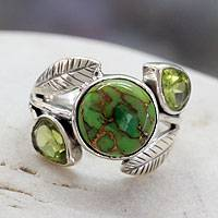 Peridot cocktail ring, 'Green Ivy' - Handmade Peridot Ring with Composite Turquoise