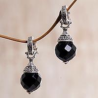 Onyx half-hoop earrings,