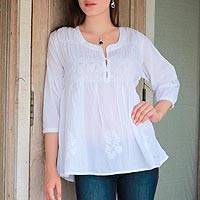 Cotton tunic, 'Morning Song' - White Embroidered Three Quarter Sleeved 100% Cotton Tunic